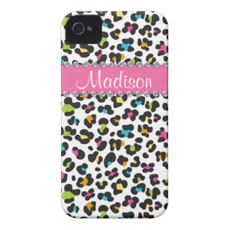 Rainbow Leopard Rhinestone Leopard BLING iPhone iPhone 4 Case-Mate Cases