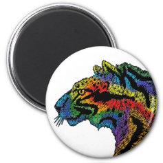 Rainbow leopard (white) circular magnet