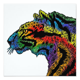 Rainbow leopard (white) invitation - 5.25x5.25