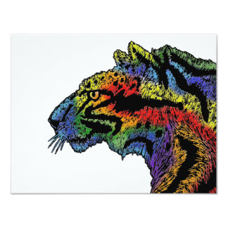 "Rainbow leopard (white) invitation - 5.5"" x 4.25"""