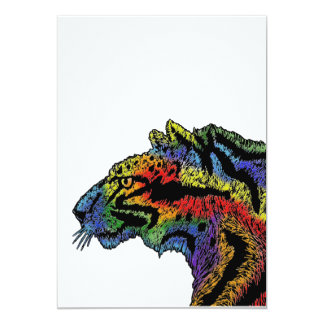 "Rainbow leopard (white) invitation 5"" x 7"""