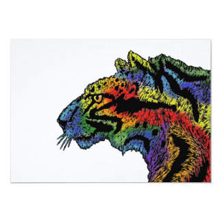 Rainbow leopard (white) invitation 5x7 horizontal