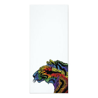 Rainbow leopard white invitation vertical