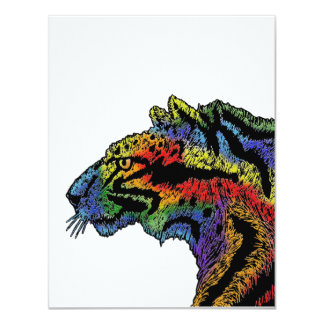 Rainbow leopard white invites 5.5 x 4.25 vertical