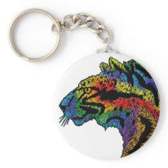 Rainbow leopard white keychain