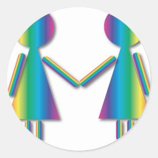 Rainbow Lesbian Love Classic Round Sticker
