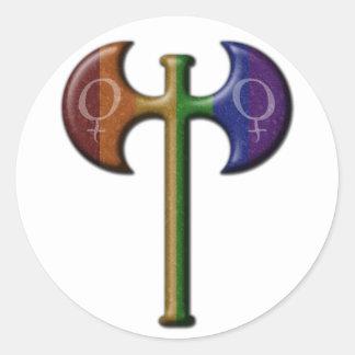 Rainbow Lesbian Pride Labrys Classic Round Sticker