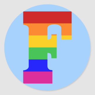 Rainbow Letter F Classic Round Sticker