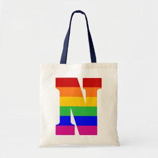 Rainbow Letter N Tote Bag