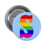 Rainbow Letter S Pinback Button