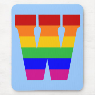 Rainbow Letter W Mouse Pad