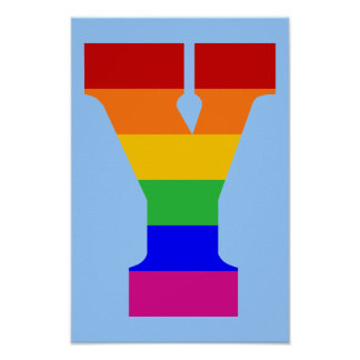 Rainbow Letter Y Poster