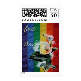Rainbow LGBT Flag Vintage Calla Lily Love Wins Postage
