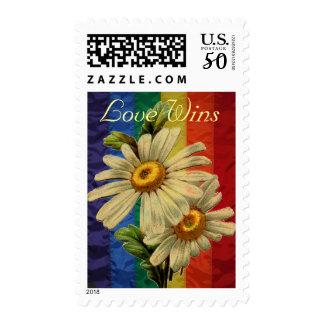 Rainbow LGBT Flag Vintage Daisy Love Wins Postage