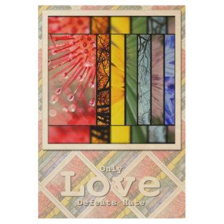 Rainbow LGBT Pride Symbol Love Defeats Hate 29x19 Wood Poster
