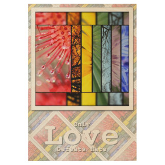 Rainbow LGBT Pride Symbol Love Defeats Hate 29x19 Wood Poster