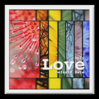 Rainbow LGBT Pride Symbol Nature Love Defeats Hate Panel Wall Art