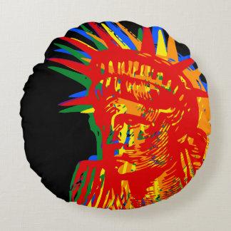 RAINBOW LIBERTY POP ART ROUND PILLOW
