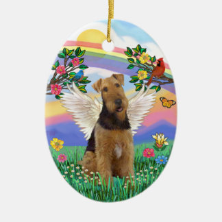Rainbow Life - Airedale Angel Ceramic Ornament