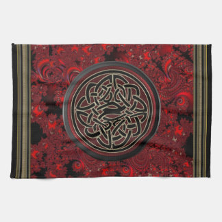 Rainbow Lights Gold Celtic Shield Knot Towel