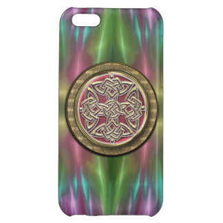 Rainbow Lights Gold Stone Celtic Shield Knot Cover For iPhone 5C