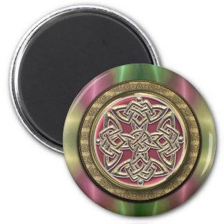 Rainbow Lights Gold Stone Celtic Shield Knot Fridge Magnet