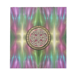 Rainbow Lights Gold Stone Celtic Shield Knot Note Pad
