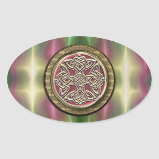 Rainbow Lights Gold Stone Celtic Shield Knot Oval Stickers