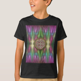 Rainbow Lights Gold Stone Celtic Shield Knot T-Shirt