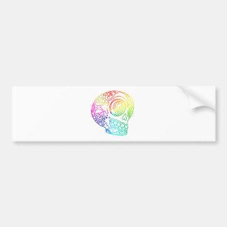 Rainbow Lines Sugar Skull in Love Bumper Sticker