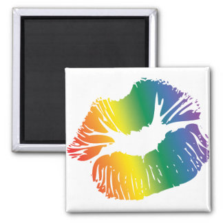 Rainbow Lips 2 2 Inch Square Magnet