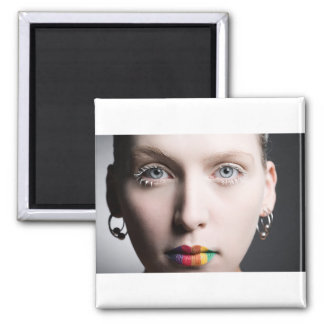 Rainbow Lips 2 Inch Square Magnet