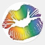 Rainbow Lips 3 Classic Round Sticker