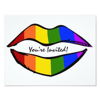 Rainbow Lips 4.25x5.5 Paper Invitation Card