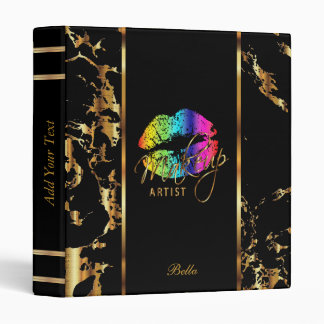 Rainbow Lips and Gold Marble Binder