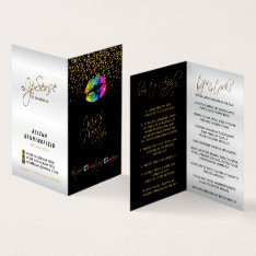 Rainbow Lips & Gold Confetti Instructions Business Card at Zazzle