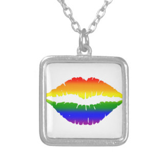 Rainbow Lips Kiss Square Pendant Necklace