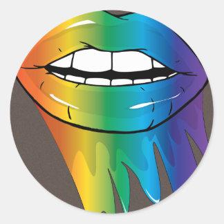 Rainbow Lips Luscious Round Sticker