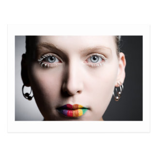 Rainbow Lips Postcard