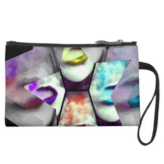 Rainbow Lips Vape Suede Wristlet Wallet