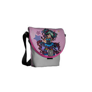Rainbow Little Unicorn Fairy 80's Girl Star Pony Messenger Bag
