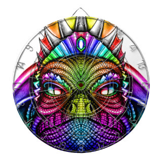 Rainbow Lizard King Wearing a Crown Trippy Dartboard With Darts