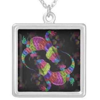 Rainbow Lizards Square Pendant Necklace