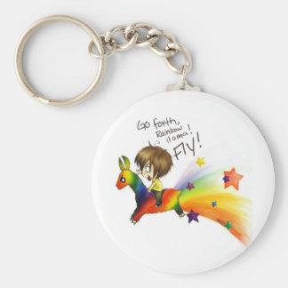 Rainbow Llama Basic Round Button Keychain