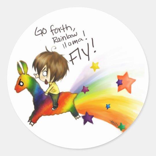 Rainbow Llama Classic Round Sticker