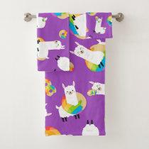 Rainbow Llama Donuts Kids Adorable Bath Towel Set