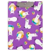 Rainbow Llama Donuts Kids Adorable  Clipboard
