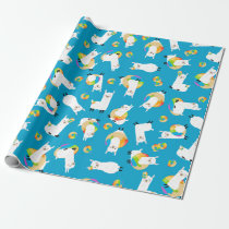 Rainbow Llama Donuts Kids Adorable Wrapping Paper
