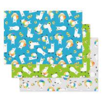 Rainbow Llama Donuts Kids Adorable Wrapping Paper Sheets