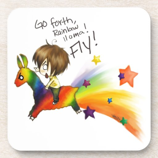 Rainbow Llama Drink Coaster